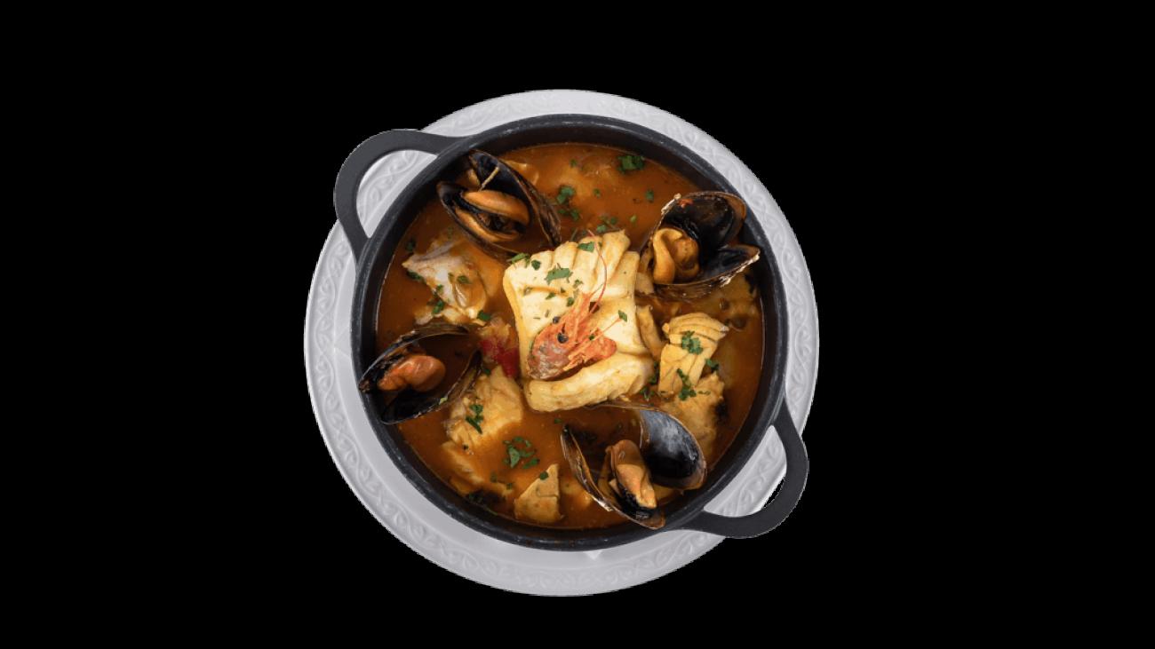 cazuela de pescado y mariscos